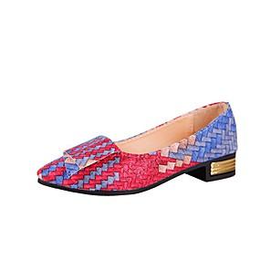 voordelige Damesschoenen met platte hak-Dames PU Lente & Herfst Informeel Platte schoenen Blok hiel Gepuntte Teen Regenboog / Amandel