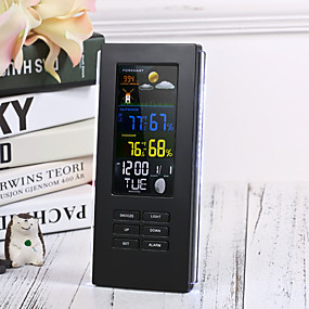 voordelige Super Korting-externe precisie ts-74 draadloze digitale thermometer indoor buitentemperatuur display backlight klok weerstation eu plug / us plugblack