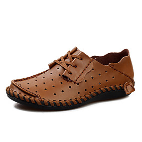 baratos Sandálias Masculinas-Homens Sapatos de couro Pele Napa Verão Casual Sandálias Caminhada Respirável Cinzento / Castanho Claro / Castanho Escuro