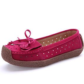 voordelige Damesinstappers & loafers-Dames Leer Zomer Brits Loafers & Slip-Ons Wandelen Platte hak Ronde Teen Roze / Lichtblauw / Lichtbruin