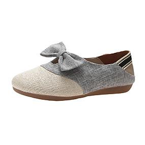 voordelige Damesschoenen met platte hak-Dames Linnen Zomer Platte schoenen Platte hak Beige / Grijs