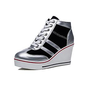 voordelige Damessneakers-Dames Sneakers Sexy Schoenen Sleehak Ronde Teen Canvas / Imitatieleer Informeel / minimalisme Lente zomer Rood / Roze / zwart / wit / Kleurenblok