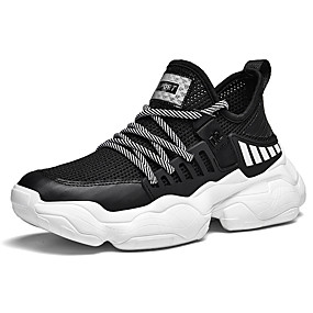 cheap Running Shoes-Men's Comfort Shoes Knit Fall / Spring & Summer Sporty / Preppy Athletic Shoes Running Shoes Breathable Color Block Black / Blue / Black / Red