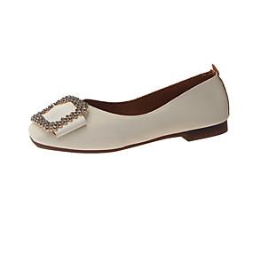 voordelige Damesschoenen met platte hak-Dames Platte schoenen Platte hak Vierkante Teen Leer Zomer Wit / Geel / Licht Roze
