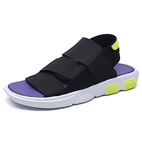 baratos Sandálias Masculinas-Homens Sapatos Confortáveis Tricô / Lona Primavera Verão Casual Sandálias Caminhada Respirável Preto / Branco / Roxo / Ao ar livre