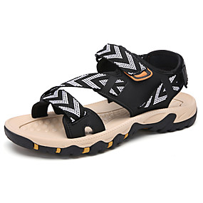 baratos Sandálias Masculinas-Homens Sapatos Confortáveis Lona Primavera Verão Casual Sandálias Respirável Preto / Khaki