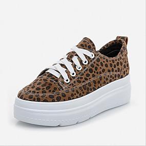 voordelige Damessneakers-Dames Polyester Lente Sneakers Platte hak Ronde Teen Zwart / Luipaard