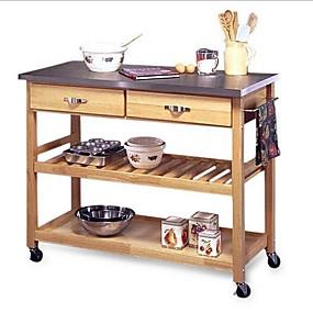 povoljno Namještaj za kuhinju i blagavaonicu-stol od nehrđajućeg čelika na vrhu kuhinje s pomoćnim kotačima