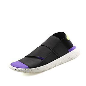 baratos Sandálias Masculinas-Homens Sapatos Confortáveis Lona Verão / Primavera Verão Casual Sandálias Respirável Preto / Roxo / Branco / Preto
