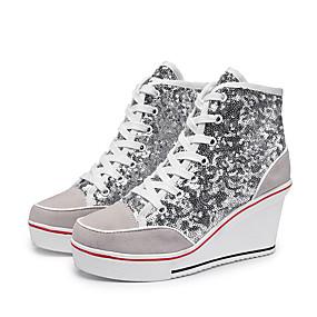 voordelige Damessneakers-Dames Sneakers Inrijgen Sleehak Ronde Teen Pailletten Imitatieleer Informeel / Zoet Lente zomer Zwart / Zilver / Roze
