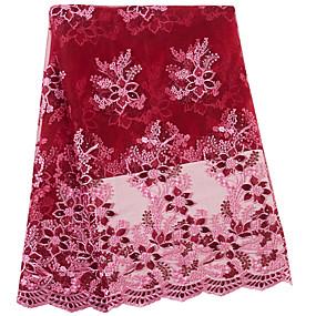 billige Sying og håndarbeid-Afrikansk blonder Blomster Mønster 130 cm bredde stoff til Spesielle anledninger selges ved 5Yard
