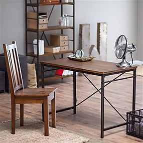 cheap Furniture-Compact Writing / Computer Desk with Metal Frame and Fir Wood Top