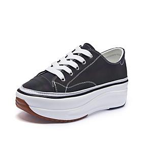 voordelige Damessneakers-Dames Sneakers Sexy Schoenen Creepers Ronde Teen Canvas Informeel / minimalisme Lente zomer Wit / Regenboog / Feesten & Uitgaan