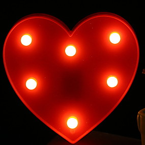 """Недорогие """"Умный"""" свет-1шт светодиодный ночной светло-красный в форме сердца теплый белый а.<5 v"""