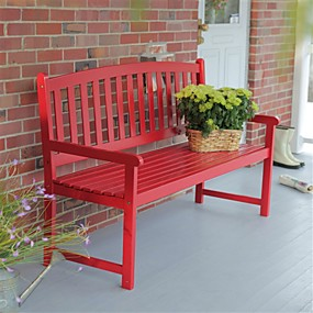cheap Furniture-5-ft outdoor garden bench in red wood finish with armrest