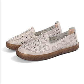 voordelige Damesschoenen met platte hak-Dames PU Lente zomer Platte schoenen Platte hak Wit / Licht Grijs / Lichtbruin