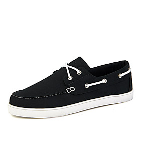 baratos Sapatos Náuticos Masculinos-Homens Sapatos de couro Lona Verão Sapatos de Barco Respirável Preto / Azul