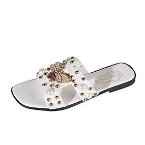 cheap Women's Slippers & Flip-Flops-Women's PU(Polyurethane) Summer Casual Slippers & Flip-Flops Flat Heel Imitation Pearl White / Black / Beige