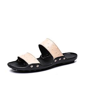 baratos Sandálias e Chinelos Masculinos-Homens Sapatos de couro Pele Napa Verão Clássico / Casual Chinelos e flip-flops Caminhada Respirável Bege / Marron / Azul