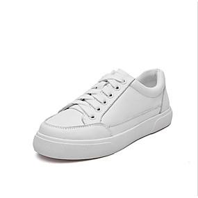 voordelige Damessneakers-Dames Sneakers Platte hak Ronde Teen Nappaleer Lente Wit