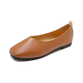 voordelige Damesinstappers & loafers-Dames Loafers & Slip-Ons Platte hak Vierkante Teen PU Informeel Zomer Zwart / Beige / Bruin