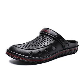 baratos Tamancos Masculinos-Homens Sapatos Confortáveis Couro Ecológico Verão Tamancos e Mules Preto / Azul / Cinzento