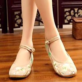 voordelige Damesschoenen met platte hak-Dames Platte schoenen Platte hak Canvas Lente Donkerrood / Donkergroen / Koffie