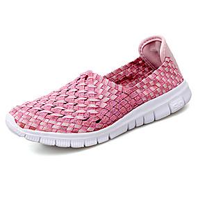 voordelige Damesinstappers & loafers-Dames Loafers & Slip-Ons Platte hak Ronde Teen Elastische stof Informeel Wandelen Zomer Rood / Blauw / Roze