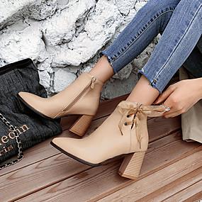 billige Mote Boots-Dame Støvler Tykk hæl Spisstå Sløyfe PU Ankelstøvler minimalisme Høst vinter Svart / Mandel / Fest / aften