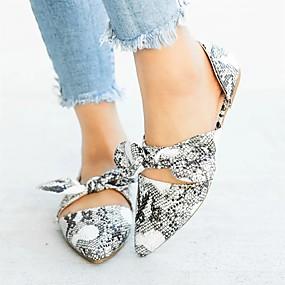 voordelige Damesschoenen met platte hak-Dames Platte schoenen Lage hak Gepuntte Teen Suède / PU Informeel Herfst / Lente zomer Licht Grijs / Rood / Luipaard