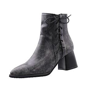 billige Mote Boots-Dame Støvler Tykk hæl Spisstå PU Ankelstøvler Vintage / Britisk Høst vinter Grå / Brun