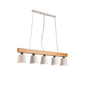 povoljno Nova kolekcija-drveni lusteri 5 svjetla nordijska jednostavna privjesak rasvjeta za dnevnu sobu bar kafić moderna metalna nadzemna svjetlo bijela abažur