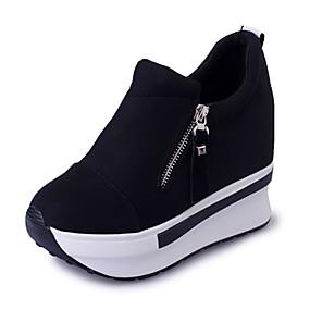 voordelige Damessneakers-Dames Sneakers Verborgen hiel Ronde Teen Canvas Sportief Lente zomer Rood / Zwart