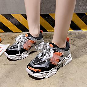 baratos Sapatos Esportivos Femininos-Mulheres Tênis Creepers PVC / Tecido elástico Corrida / Caminhada Primavera Verão / Outono & inverno Verde / Laranja / Amarelo