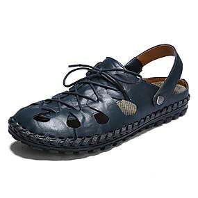 baratos Sandálias Masculinas-Homens Sapatos Confortáveis Pele / Couro Ecológico Verão Casual Sandálias Não escorregar Preto / Marron / Azul