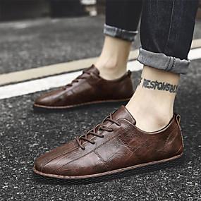 baratos Tênis Masculino-Homens Sapatos formais Couro Ecológico Outono & inverno Tênis Preto / Marron / Khaki / Sapatos Confortáveis