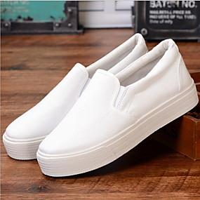 voordelige Damessneakers-Dames Sneakers Platte hak Ronde Teen Canvas Zomer Zwart / Wit