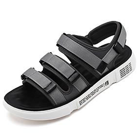 baratos Sandálias Masculinas-Homens Sapatos Confortáveis Lona Verão Clássico / Casual Sandálias Caminhada Respirável Preto / Vermelho / Cinzento