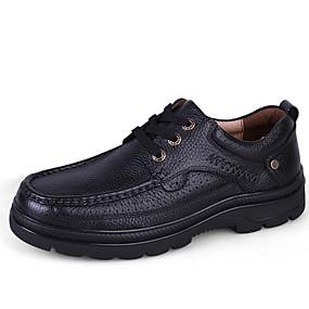 baratos Oxfords Masculinos-Homens Sapatos de couro Pele Primavera Verão / Outono & inverno Negócio / Casual Oxfords Não escorregar Preto / Marron / Sapatos Confortáveis