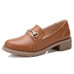 voordelige Damesinstappers & loafers-Dames Loafers & Slip-Ons Blok hiel Ronde Teen Leer Zoet / minimalisme Lente zomer Zwart / Beige / Bruin