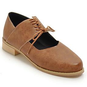 voordelige Dames Oxfords-Dames Oxfords Leatherette Loafers Blok hiel Ronde Teen Imitatieleer Brits Herfst Zwart / Grijs / Lichtbruin / Feesten & Uitgaan