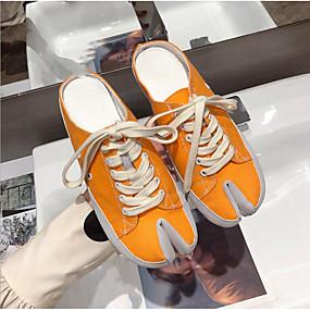 voordelige Damessneakers-Dames Sneakers Lage hak Ronde Teen Polyester Lente Zwart / Oranje / Luipaard