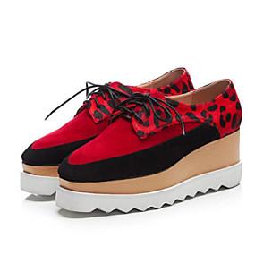 voordelige Dames Oxfords-Dames Oxfords Bullock schoenen Creepers Schapenleer Lente Rood / Blauw