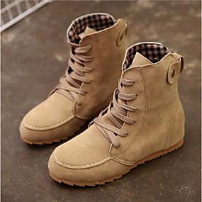 billige Mote Boots-Dame Støvler Flat hæl Rund Tå Semsket lær Støvletter Fritid Høst vinter Rød / Grønn / Kakifarget
