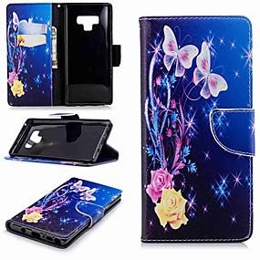 preiswerte Neu Eingetroffen-Hülle Für Samsung Galaxy Note 9 / Note 8 Geldbeutel / Kreditkartenfächer / mit Halterung Ganzkörper-Gehäuse Schmetterling Hart PU-Leder für Note 9 / Note 8