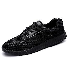 baratos Sapatos Esportivos Masculinos-Homens Sapatos Confortáveis Com Transparência / Couro Ecológico Verão Esportivo Tênis Corrida Não escorregar Branco / Preto / Vermelho