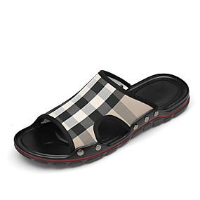 baratos Sandálias e Chinelos Masculinos-Homens Sapatos Confortáveis Couro Ecológico Outono / Primavera Verão Chinelos e flip-flops Preto / Branco