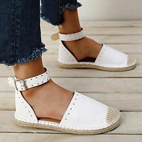 voordelige Damesschoenen met platte hak-Dames Platte schoenen Platte hak Siernagel PU Lente zomer Wit / Zwart / Zilver