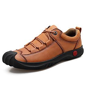 baratos Oxfords Masculinos-Homens Sapatos Confortáveis Pele Napa Verão Oxfords Respirável Preto / Marron