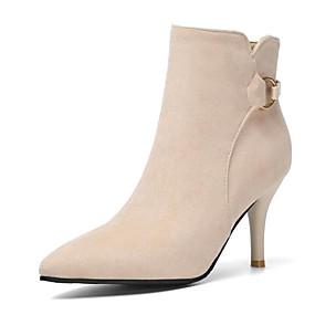 billige Mote Boots-Dame Støvler Stiletthæl Spisstå Semsket lær Ankelstøvler Høst vinter Svart / Beige / Gul / Fest / aften